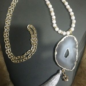 Jewelry - Boho Gray Grey Agate Druzy Quartz slab necklace